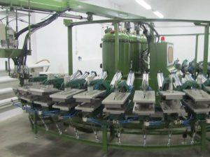 línea de producción de zapatos de pu
